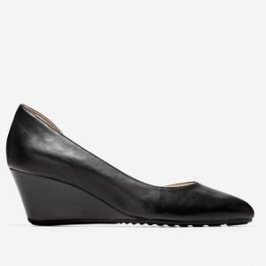Cole Haan Edith d'Orsay Black Leather Wedge Sz 9.5